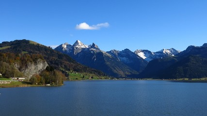 Beautiful autumn day at lake Sihlsee