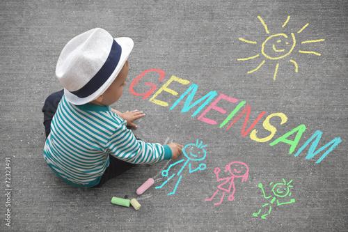 Leinwanddruck Bild Kinderzeichnung - Gemeinsam