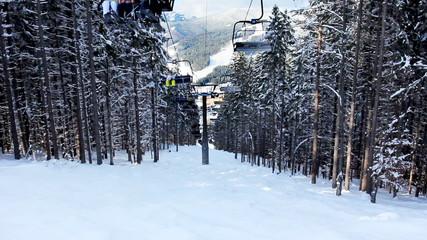skiers going up on hoist through dark forest above snow mountain