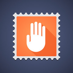 Mail stamp icon with a hand