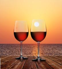 Rotwein bei Sonnenuntergang
