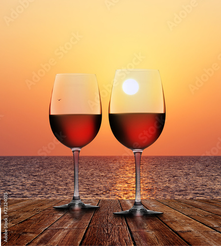 canvas print picture Rotwein bei Sonnenuntergang