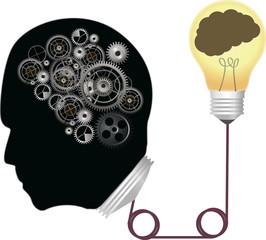 Vector illustration brain and gear