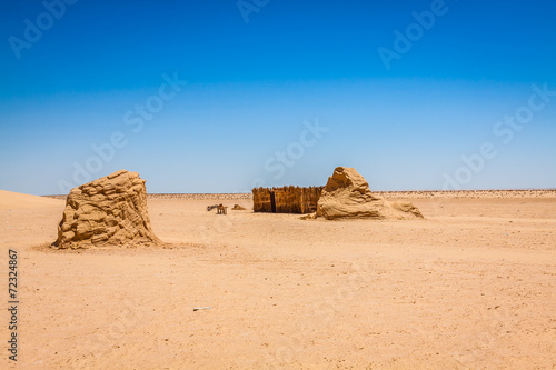 Fotobehang Tunesië Set for the Star Wars movie still stands in the Tunisian desert