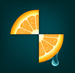 Flowing down drop on an orange segments. Vector background