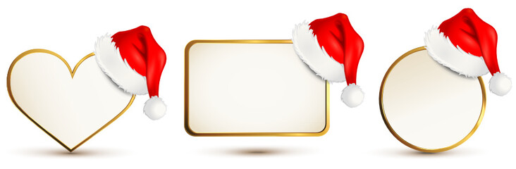 Karten Set mit Goldrand und Nikolaus-Mütze
