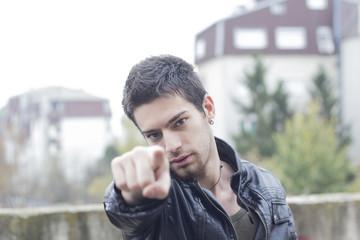 men pointing his finger