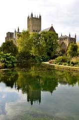 Wells cathedral and water reflections