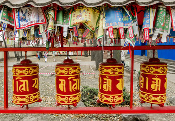 prayer drums in a Buddhist temple in St. Petersburg