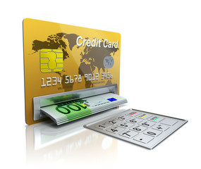 Cash machine in the credit card with EURO banknotes