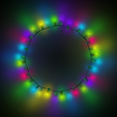 Frame for Christmas cards made from glowing lights