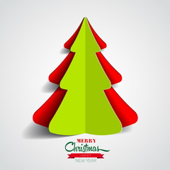 Creative paper Christmas tree on white background. simple vector