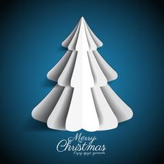 Creative paper Christmas tree on dark blue background. simple ve