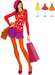 Fashion girl dressed in retro style with shopping bag