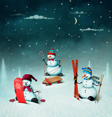 Christmas illustration with snowmen and sports elements