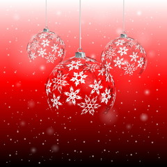 Christmas ball from snowflakes on red background, eps 10