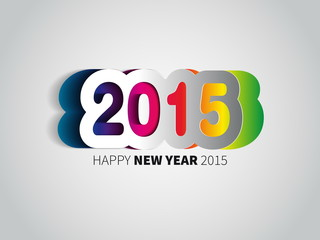 Happy New Year 2015 - rainbow colored background with papercut y