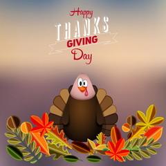 Beautiful, colorful cartoon of turkey bird for Happy Thanksgivin