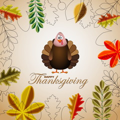 Happy Thanksgiving cartoon turkey with leaves - card vector illu