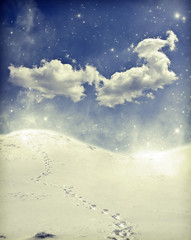 Foot path in the snow