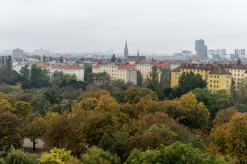 Vienna skyline on a foggy day