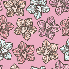 Pink pastel fashion seamless pattern with tropical orchids