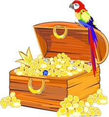 Wooden chest with gold and macaw parrot