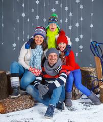 Winter Fashion. Happy family.