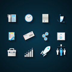 Flat icons colored vector collection for startup and business