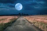 Moonrise over asphalt road - 72329287
