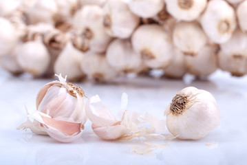 garlic in a bunch on white background