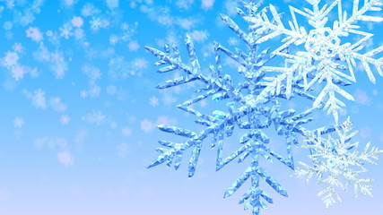 Abstract Winter Animation with Big Christmas Snowflakes.