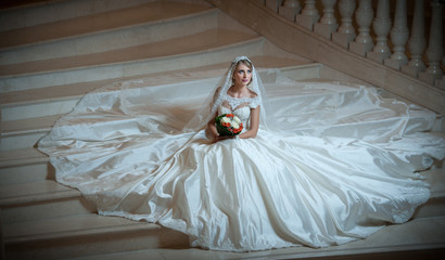 Young beautiful luxurious woman in wedding dress sitting