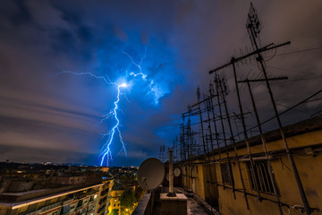 Lightning Storm over city of Rome
