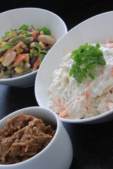 coleslaw and bean salad selection