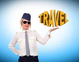 stewardess showing travel symbol
