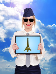 tablet with eiffel tower
