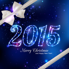 Happy New Year 2015 celebration concept with white silk bow over