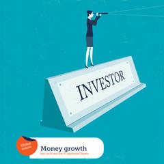Businessman on a nameplate investor