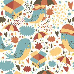 Mr Sparrow with Umbrella and box seamless pattern.