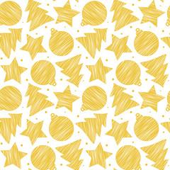 Gold scribble pattern on white. Vector illustration. Seamless.