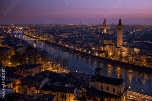 Leinwanddruck Bild Verona al tramonto