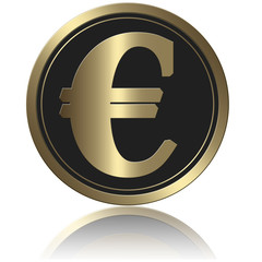 Coin With Shadow Gold Euro
