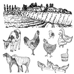 farm hands drawing