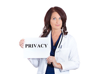 doctor nurse holding privacy sign isolated on white background