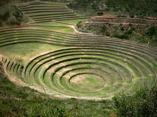 Moray, ancient inca circular terraces. Sacred valley, Peru