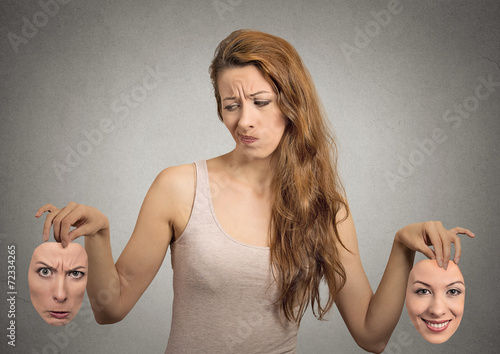 Poster beautiful girl holds two face masks with happy and angry emotion