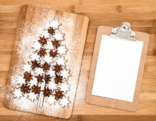 christmas cookie cinnamon stars and notice board