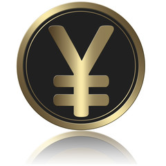 Coin With Shadow Gold Yen