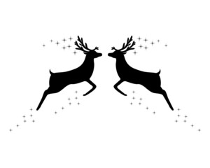Two reindeer with stars on white background